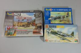 3 boxed model kits, all un-started with sealed contents; Airfix NA P51B Mustang, Revell P-51B