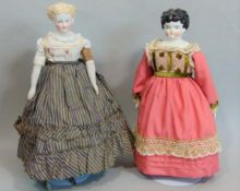 2 antique shoulder head dolls with bisque lower limbs; 19th century Parian doll with stuffed cloth
