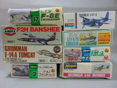 8 model aircraft kits by Airfix, Monogram, Matchbox and Hasegawa, all unstarted including Airfix F2H