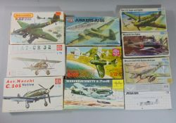 10 model aircraft kits by Airfix, Frog, Matchbox, Pegasus, Heller etc, all un-started including