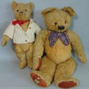 2 old Teddy Bears both with glass eyes and stitched noses; largest 75cm tall by Chad Valley circa
