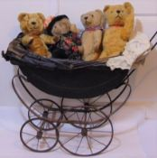 Collection of bears and an antique dolls pram including 2 C1940's bears with stitched noses and