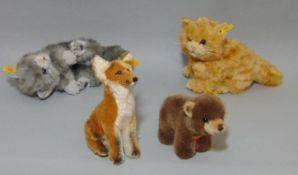 5 Steiff toys: 'Fuchs' sitting fox 33438, 18cm tall, 'Browny' bear 1444/12, 'Possy' the squirrel