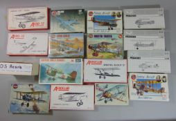 15 Model aircraft kits, all un-started and most with sealed contents including by Airfix RE8, DH4,