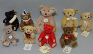9 small Steiff teddy bears, all with pin in ear, includes 'Original' range Clown 29110, Millenium