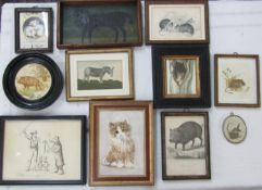 A collection of mainly 19th century pictures and prints relating to animals including a small