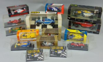 Mixed collection of boxed model racing cars including Onyx 1:24 5003, 5001 and 5005, 2x 1:43 Brumm
