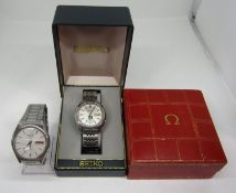 Vintage gent's Seiko 5 Actus Pepsi 21 jewels stainless steel wristwatch, currently running, 36mm