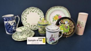 A collection of Royal Albert teawares with green printed floral swag detail comprising a pair of