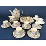 A collection of Royal Winton Old Cottage chintz coffee wares comprising coffee pot, cream jug, sugar