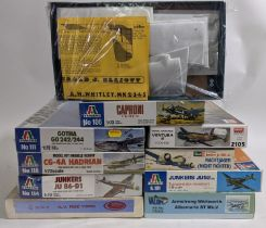 Collection of 10 model aircraft kits, all WW2 models, 1:72 scale, believed to be complete and some