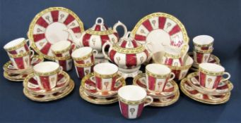 A collection of Victorian teawares with puce and gilt decoration comprising pair of cake plates,