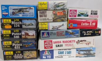 A collection of 15 model kits of WW2 aircraft, all 1:72 scale, some sealed in cellophane and all