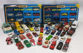 2 Matchbox model car 'Super Value Packs' together with a collection of unboxed model vehicles by