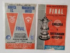 Two football programmes to include The FA Cup Final Saturday May 20th 1967, Chelsea v Tottenham