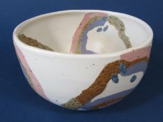An unusual studio pottery bowl understood to be by Ann Marie Robinson (Belfast studio potter) with