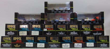 21 boxed Formula One racing cars by Onyx, all 1:43 scale 1990-1992 (21)