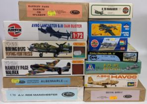 Collection of 13 model aircraft kits of WW2 Bomber planes, all believed to be complete and some with