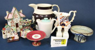A collection of 19th century and later ceramics (some pieces af) including a large brown ground 19th
