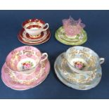A small collection of Royal Grafton Harlequin tea wares comprising three trios and a further