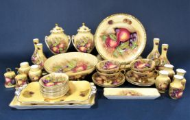 A collection of Aynsley fruit decorated wares by S Jones comprising a pair of two handled covered