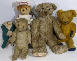 3 vintage teddy bears including an early 20th century bear in need of restoration with boot button