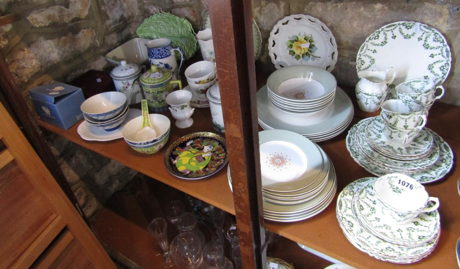 A collection of Royal Albert teawares with green printed floral swag detail comprising a pair of - Bild 2 aus 2