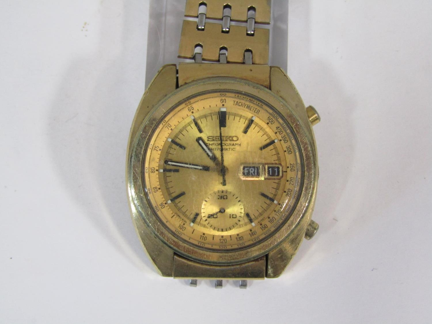 Vintage gent's Seiko chronograph automatic gold plated wristwatch, the gilt dial with black baton - Image 2 of 3