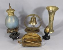 A heavy Eastern trumpet shaped brass vase, a brass table bell, an aesthetic period pot pourri in