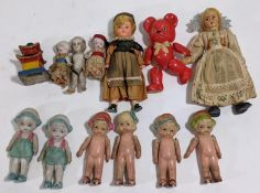 9 miniature bisque dolls, C1920's, most styled as Flapper girls, height 6-9cm, together with a small