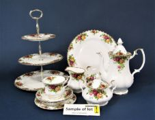 Extensive collection of Royal Albert Old Country Roses pattern wares including a three tier cake
