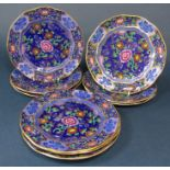 A set of ten early 20th century Booths dessert plates with printed chinoiserie style infilled