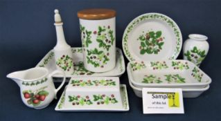 A quantity of Portmeirion Summer Strawberries pattern wares comprising oval serving dishes,