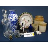 A quantity of ceramics and glassware including stoneware jars, oriental blue and white vase, glass