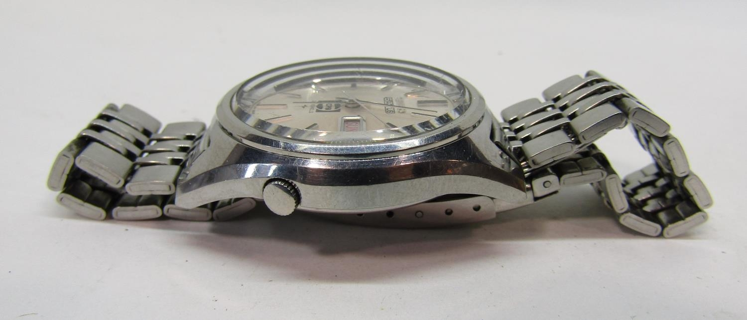 Vintage gent's Seiko 5 Actus Pepsi 21 jewels stainless steel wristwatch, currently running, 36mm - Image 6 of 8