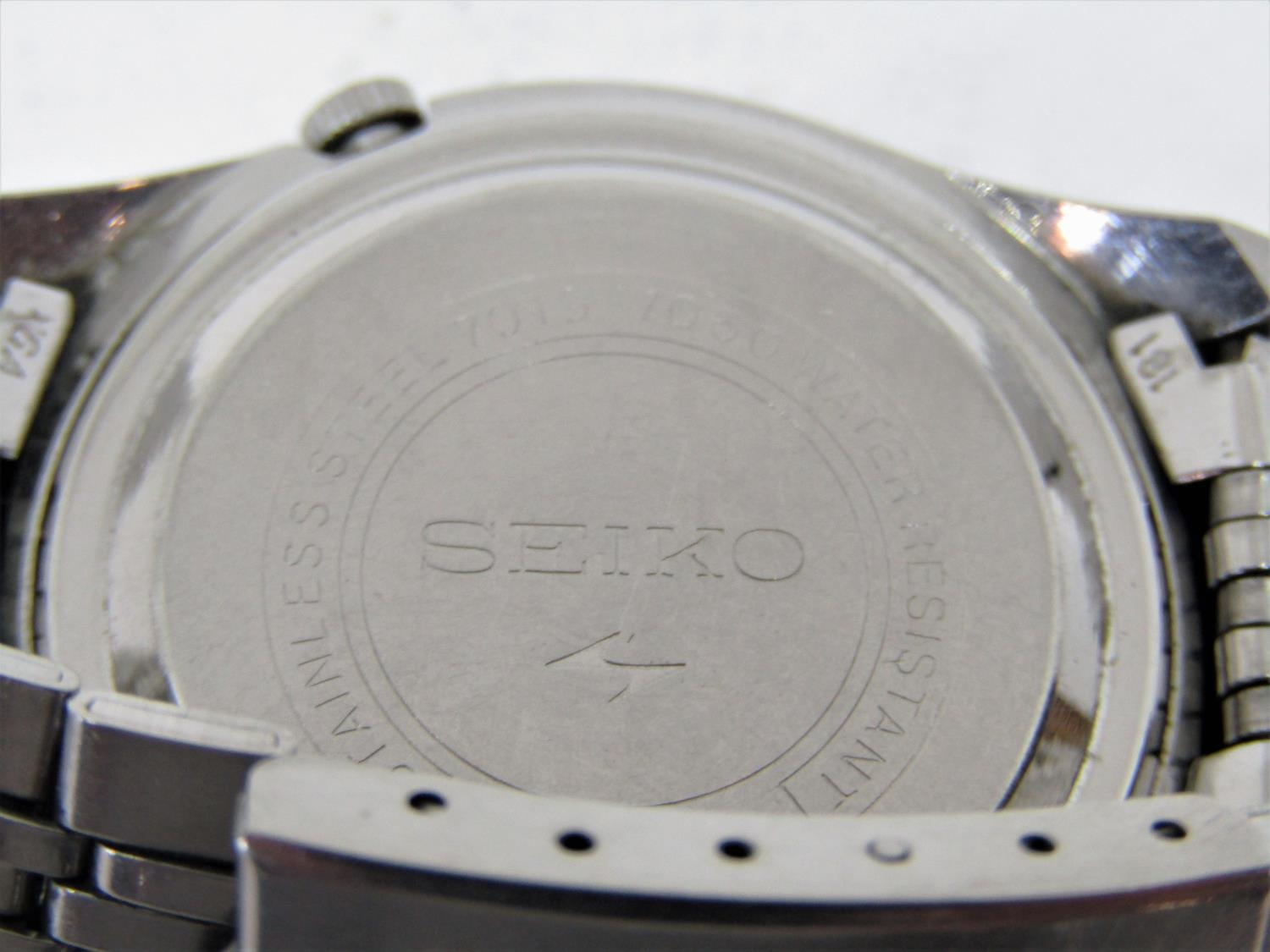 Vintage gent's Seiko 5 Actus Pepsi 21 jewels stainless steel wristwatch, currently running, 36mm - Image 7 of 8