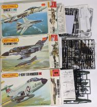 Collection of 14 model aircraft kits of 1960's/70's jet planes, all believed to be complete and some