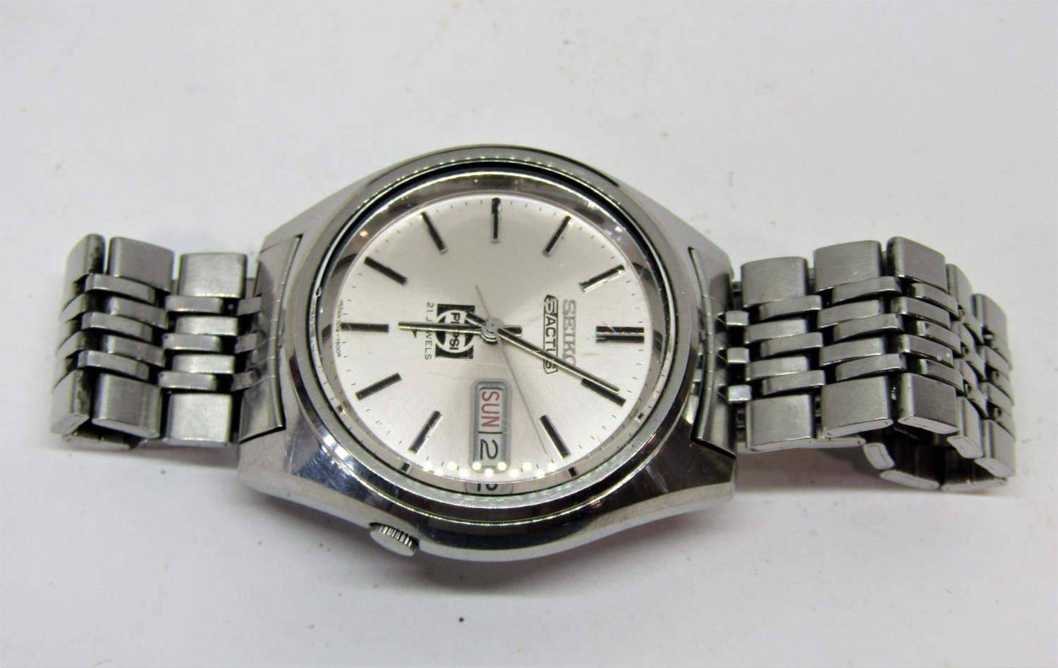 Vintage gent's Seiko 5 Actus Pepsi 21 jewels stainless steel wristwatch, currently running, 36mm - Image 5 of 8