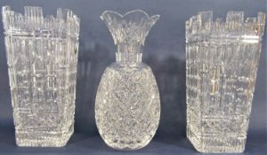 Waterford crystal twelve inch UK Guild Millennium vase x 2 with original box, together with