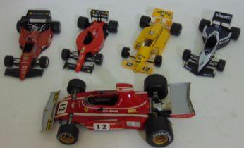 Ferrari 312 B3 Formula 1 Niki Lauda racing car by Polistil, 1:16 scale, no box together with 4