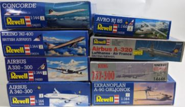 Collection of 8 model aircraft kits, 1:144 scale of civil aircraft, all believed to be complete,