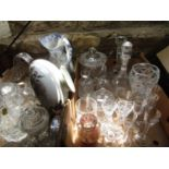 Two boxes of various glassware to include a Murano mottled glass twin handled vase, various