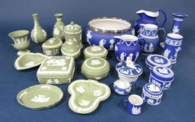 A collection of Wedgwood dark blue ground jasper wares including a bowl with plated rim, 20cm