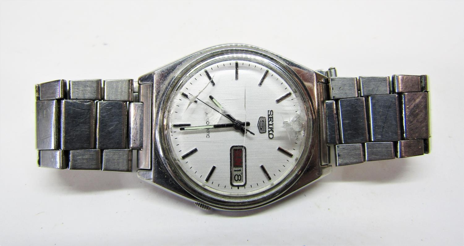 Vintage gent's Seiko 5 Actus Pepsi 21 jewels stainless steel wristwatch, currently running, 36mm - Image 3 of 8