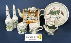 A quantity of Portmeirion potterywares including five novelty teapots, botanic garden patternwares