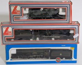 3 boxed OO gauge locomotives including Lima 'King George V' 4-6-0 with tender 205103, Lima GWR 2-6-2