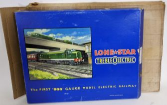 Boxed Lone Star 'TREBLEOLECTRIC' 000 gauge model electric rail set, appears complete and possibly