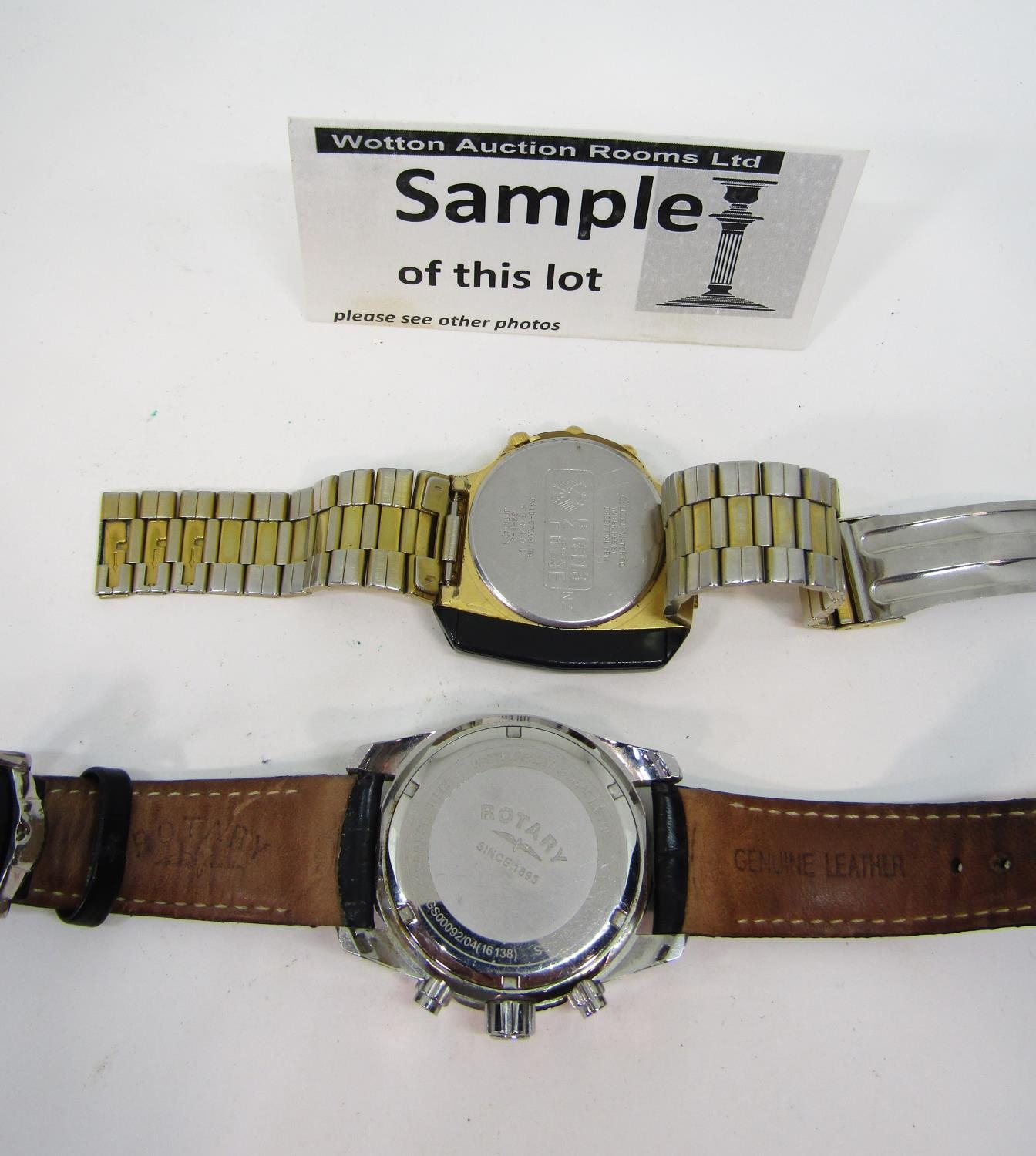 Four good vintage gents wristwatches to include a Rotary quartz divers watch with black dial and - Image 3 of 6