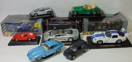 Collection of model cars by Maisto and Burago including boxed Maisto 1:18 Porsche 911 GTI,