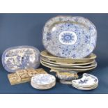 A collection of 19th century blue and white printed meat plates including two examples with wells (